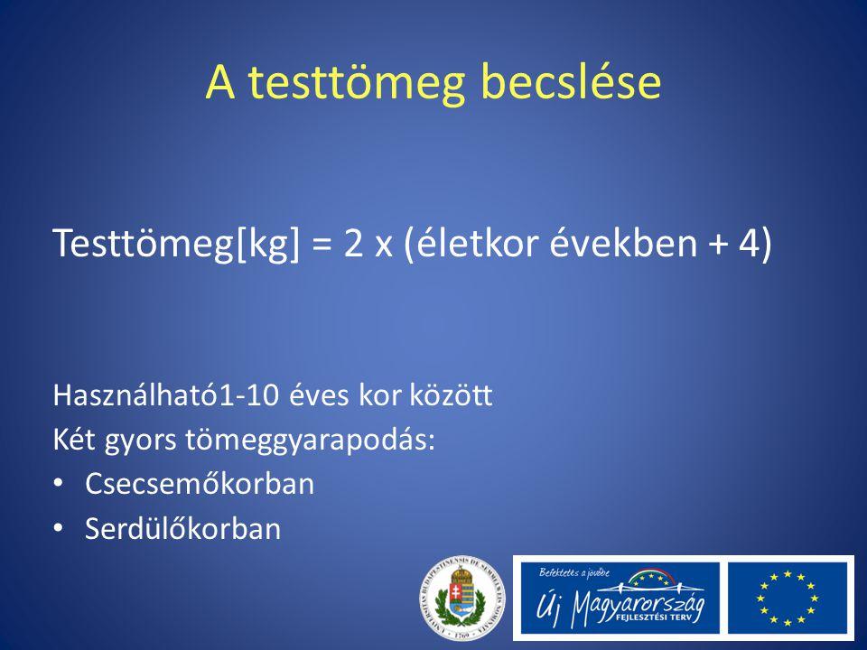 A testtömeg becslése Testtömeg[kg] = 2 x (életkor években + 4)